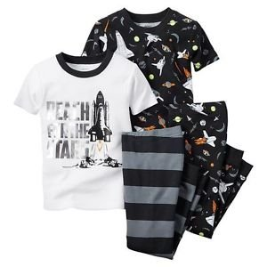 CARTER'S Boy's Size 4T REACH FOR THE STARS 4-Piece Space Themed Pajama Set