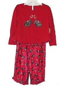 Girl's 5T Red Scottie, Scottish Terrier, Holly Christmas Holiday Pajama Set