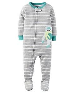 Carter's Boy's Size 3T, 4T OR 5T YETI ABOMINABLE Striped Cotton Footed Pajamas