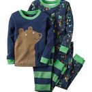 CARTER'S Boy's 4T BEAR CAMPING WOODLAND 4-Piece Pajama Set