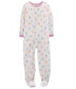 CARTER'S Girl's Size 5 Fleece Owl Print Footed Blanket Pajama Sleeper