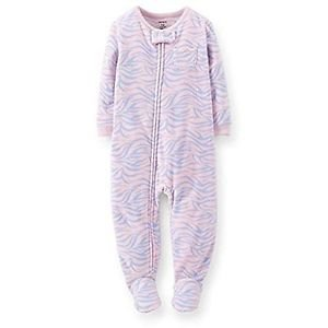 CARTER'S Girl's 4T Pink and Blue Zebra Fleece Footed Pajama Sleeper