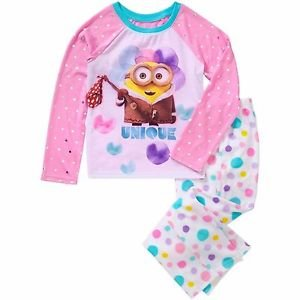 DESPICABLE ME UNIQUE Minion Girl's Size 6/6X Graphic Pajama Top, Fleece Pants