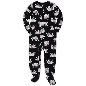 CARTER'S Boy's Size 4 OR 5 Black Polar Bear Winter Fleece Footed Pajama Sleeper