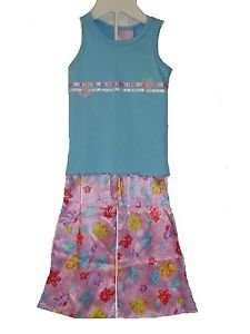 Toddler Girls Size 3 Blue Floral Tank and Pink Satin Pants Pajama Set