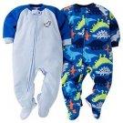 Boy's Size 5T DINOSAUR Dino Set of 2 Fleece Footed Blanket Pajama Sleepers