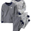 CARTER'S Boy's 4T Gray Elephant Jungle Animals Striped 4-Piece Pajama Set