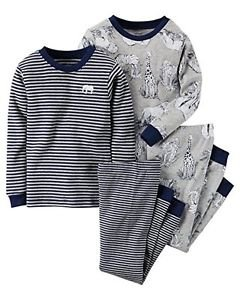 CARTER'S Boy's 4T Gray Elephant Jungle Animals Striped 4-Piece Pajama Set
