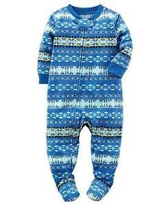 CARTER'S Boy's 4T Blue Fair Isle Fleece Footed Pajama Sleeper
