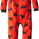 CARTER'S Boy's Size 3T OR 4T Orange Moose Print Fleece Footed Pajama Sleeper