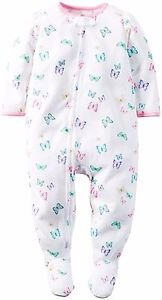 Toddler Girl's Size 3T OR 4T White Butterfly Footed Pajama Sleeper, Footie