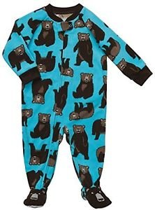 CARTER'S Boy's Size 3T Turquoise Grizzly Bear Fleece Footed Pajama Sleeper