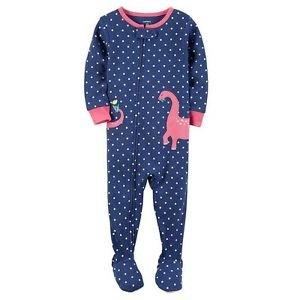 Girl's 3T, 4T OR 5T Polka Dot DINOSAUR Dino Cotton Footed Pajama Sleeper