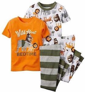 CARTER'S Boy's 4T 4-Piece JUNGLE ANIMAL Wild About Bedtime Pajama Set