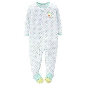 CARTER'S Girl's 5T Green Polka Dot Bumblebee Pajama Sleeper
