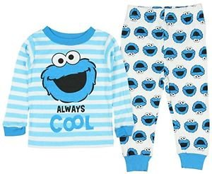 Sesame Street Baby Boys' 12 OR 18 Months Cookie Monster Striped Print Pajama Set