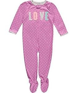 Carter's Girl's 4T Polyester Jersey Purple Polka Dot Love Footed Pajama Sleeper