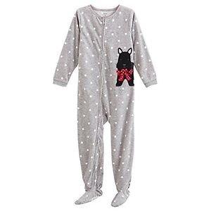 Carter's Girl's Size 4 Polka Dot Scottish Terrier Fleece Footed Pajama Sleeper