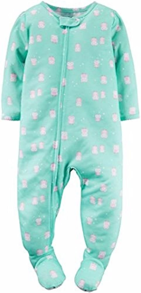 Carter's Girl's 4T Polyester Jersey Mint Green Owl Print Footed Pajama Sleeper