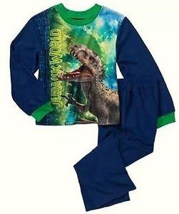 JURASSIC WORLD Boys Size 4-5 Raptor, Indominus T-REX Dinosaur Flannel Pants Set