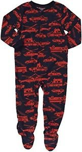 CARTER'S Boy's Size 4 Navy Rescue Vehicles Fleece Footed Pajama Sleeper