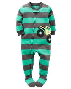 CARTER'S Boy's Size 4 Monster 4 Wheel Truck Fleece Footed Pajama Sleeper