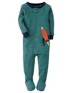 Carter's Boy's Size 3T, 4T OR 5T SPACE ROCKET Striped Cotton Footed Pajamas