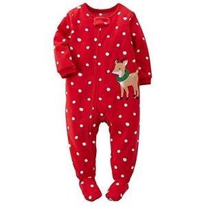 Toddler Girl's 5 Christmas Dot Reindeer Wreath Fleece Footed Pajama Sleeper