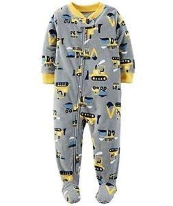 CARTER'S Boy's 3T, 4T OR 5T Construction Crane Fleece Footed Pajama Sleeper