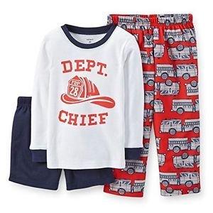 CARTER'S Boy's 3T Fire Dept. Chief 3-Piece Pajama Pants, Shorts Set