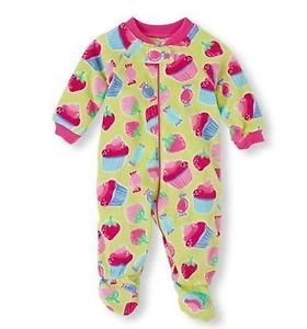 THE CHILDREN'S PLACE Girl's 3T Green CUPCAKE Fleece Footed Plush Pajama Sleeper
