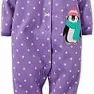 Carter's Baby Girl's 3 Months Purple Dot Penguin Fleece Footed Pajama Romper