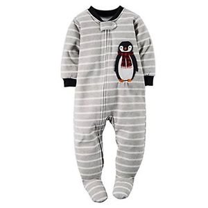 CARTER'S Boy's Size 4 OR 5 Striped Winter PENGUIN Fleece Footed Pajama Sleeper