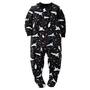 CARTER'S Boy's Size 6 OR 7 Outer Space Ships Fleece Footed Pajama Sleeper