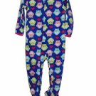 Girl's Size 3T OR 4T Fleece Footed Blanket Pajama Sleeper, Owls and Hearts