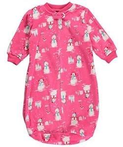 Baby Girls 24 Months Pink Snowman Applique Zip Up Fleece Sleepsack, Bag