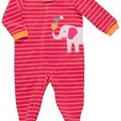 CARTER'S Girl's Size 3T Striped Pink ELEPHANT Fleece Footed Pajama Sleeper,