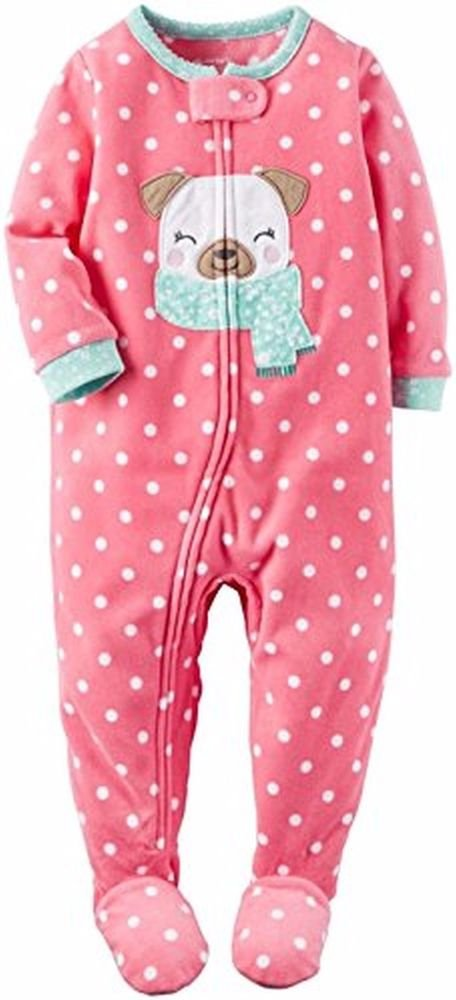 Carter's Girl's 3T, 4T OR 5T Pink Pug Puppy Dog Fleece Footed Pajama Sleeper