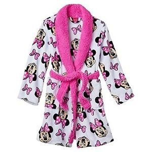 Minnie Mouse Girls Size 4 Pink Bows Plush Fleece Bathrobe Robe