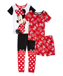 Disney Girl's Size 4 MINNIE MOUSE Bows 4-Piece Pajama Pants, Shorts Set