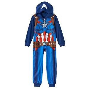 MARVEL AVENGERS CAPTAIN AMERICA Size 10 Hooded Fleece Pajama Sleeper