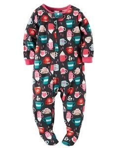 Carter's Girl's Size 4T Hot Cocoa, Marshmallow, Footed Blanket Pajama Sleeper