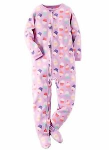 Carter's Girl's 3T Cupcake Purple Fleece Footed Blanket Pajama Sleeper