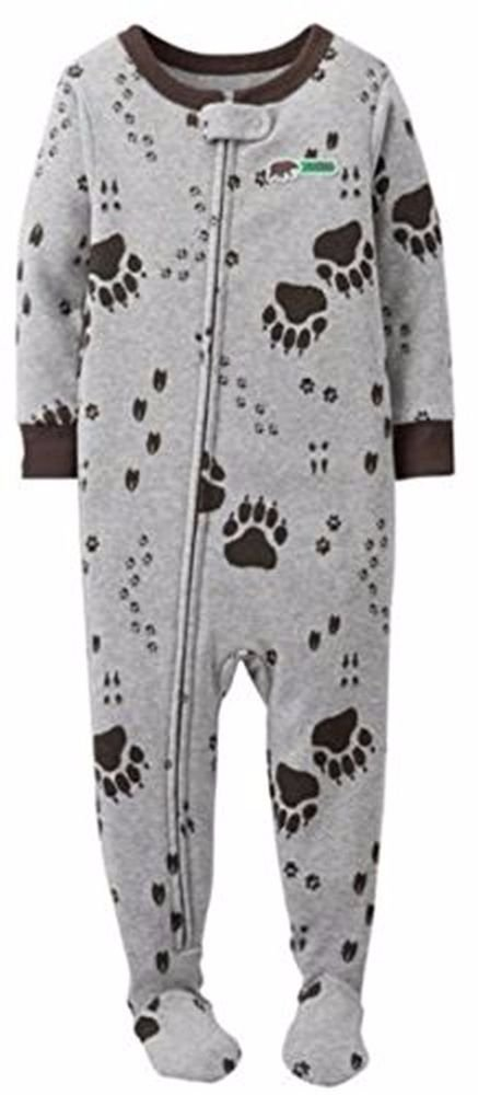Carter's Boy's Size 4T OR 5T Gray Animal Paw Tracks Fleece Footed Pajama Sleeper