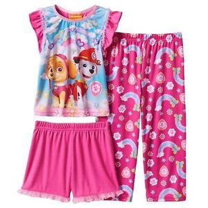 PAW PATROL SKYE And MARSHALL Girl's 3T and 4T Pink Rainbow 3-Piece Pajama Set