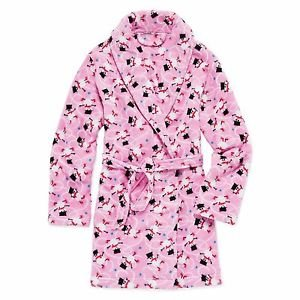 Girl's Size 7/8 Pink Fleece Winter Holiday Christmas SNOWMAN Bathrobe, Robe