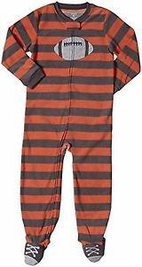 Carter's Boy's Size 5T Fleece Striped Football Pajama Blanket Sleeper, PJ'S