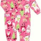 CARTER'S Girl's 4T Christmas Santa Themed Fleece Pajama Sleeper, Reindeer, Trees