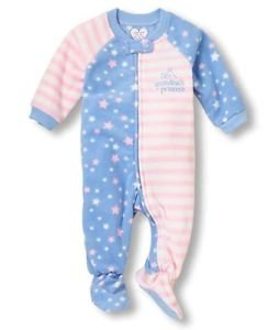 Toddler Girl's Size 3T, 4T OR 5T Fleece GRANDMA'S PRINCESS Pajama Sleeper