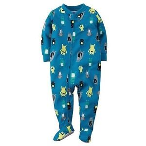 CARTER'S Boy's Size 5T Blue Monster Footed Polyester Jersey Pajama Sleeper